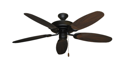 "Picture of Raindance Matte Black with 52"" Outdoor Leaf Oil Rubbed Bronze Blades"