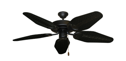 "Picture of Raindance Matte Black with 52"" Outdoor Weave Oil Rubbed Bronze Blades"