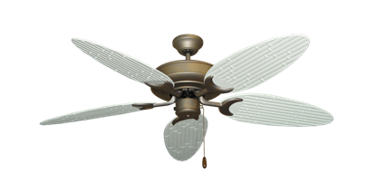 """Raindance Antique Bronze with 52"""" Outdoor Bamboo Pure White Blades"""