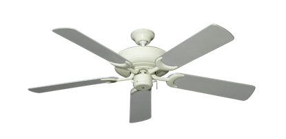 """Raindance Antique White with 52"""" Outdoor Brushed Nickel Blades"""