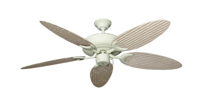 """Raindance Antique White with 52"""" Outdoor Bamboo Distressed White Blades"""