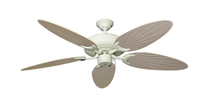 """Raindance Antique White with 52"""" Outdoor Palm Distressed White Blades"""