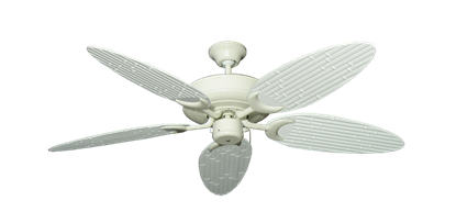 """Raindance Antique White with 52"""" Outdoor Bamboo Pure White Blades"""