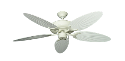 """Raindance Antique White with 52"""" Outdoor Palm Pure White Blades"""