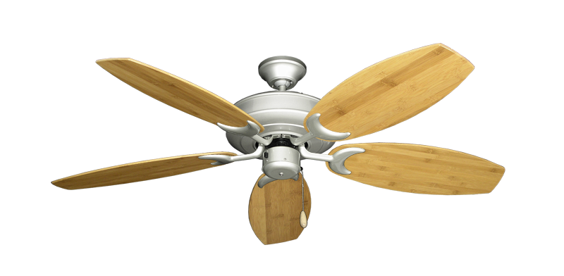 """Picture of Raindance Brushed Nickel with 52"""" Oar Bamboo Brown Blades"""