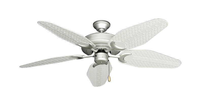 """Picture of Raindance Brushed Nickel with 52"""" Outdoor Weave Pure White Blades"""