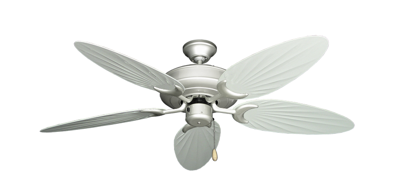 """Picture of Raindance Brushed Nickel with 52"""" Outdoor Palm Pure White Blades"""