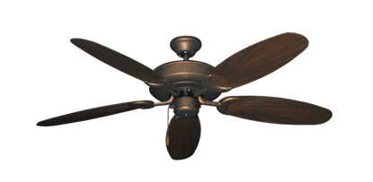 """Picture of Raindance Burnished Copper with 52"""" Outdoor Leaf Oil Rubbed Bronze Blades"""