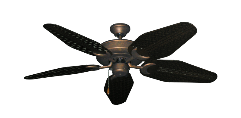 """Picture of Raindance Burnished Copper with 52"""" Outdoor Weave Oil Rubbed Bronze Blades"""
