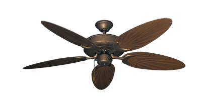 """Picture of Raindance Burnished Copper with 52"""" Outdoor Palm Oil Rubbed Bronze Blades"""