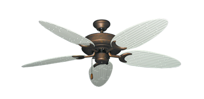"""Picture of Raindance Burnished Copper with 52"""" Outdoor Bamboo Pure White Blades"""
