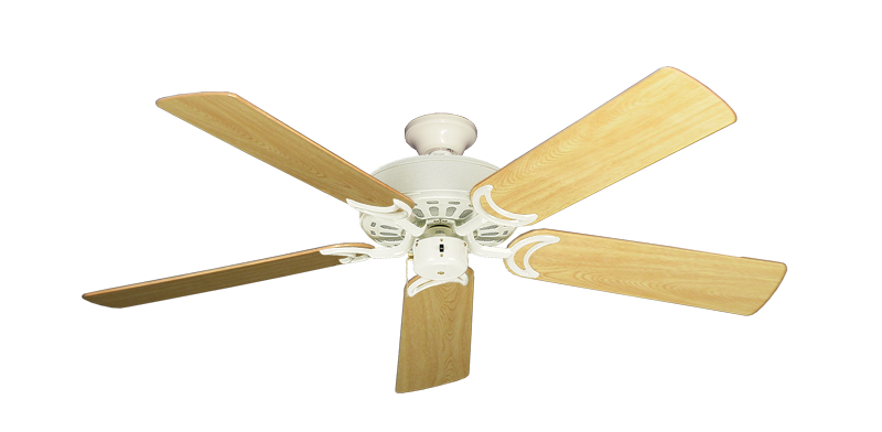 """Picture of Dixie Belle Antique White with 52"""" Honey Oak Gloss Blades"""