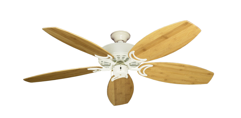 "Dixie Belle Antique White with 52"" Oar Bamboo Brown Blades"