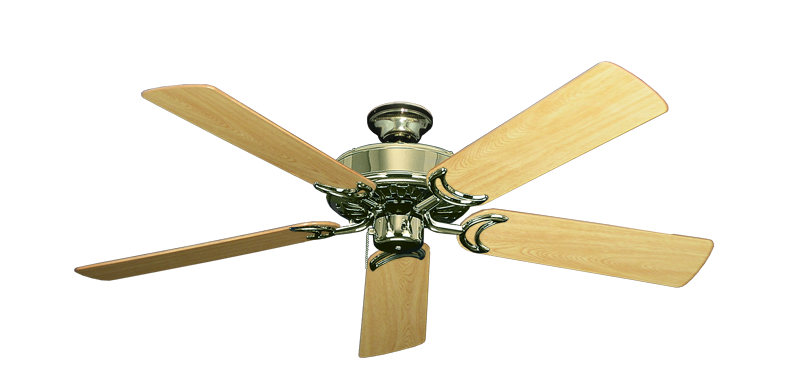 """Picture of Dixie Belle Bright Brass with 52"""" Honey Oak Gloss Blades"""
