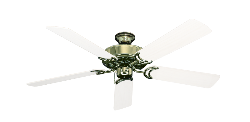 """Picture of Dixie Belle Bright Brass with 52"""" Outdoor Pure White Blades"""