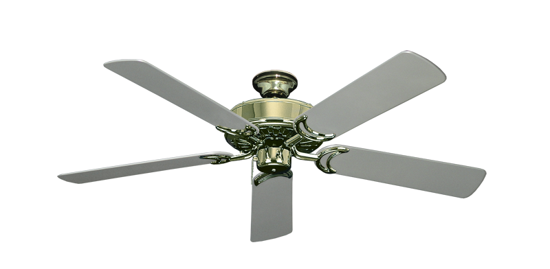 "Picture of Dixie Belle Bright Brass with 52"" Outdoor Brushed Nickel Blades"