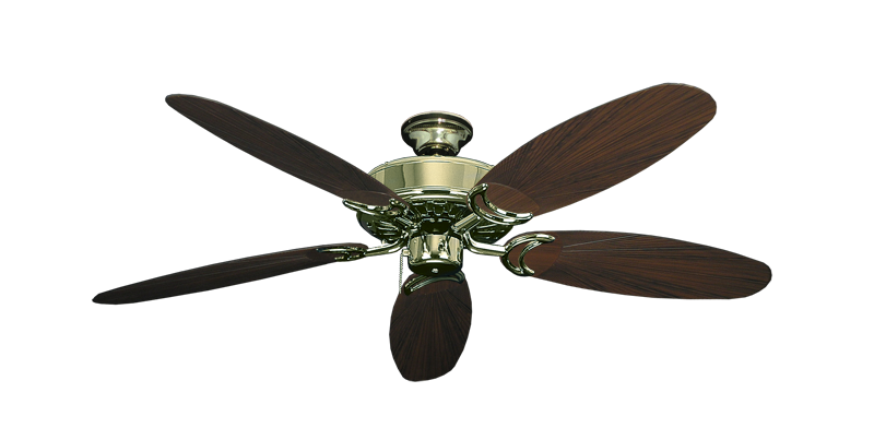 """Picture of Dixie Belle Bright Brass with 52"""" Outdoor Leaf Oil Rubbed Bronze Blades"""