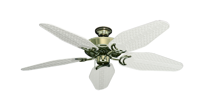 """Picture of Dixie Belle Bright Brass with 52"""" Outdoor Weave Pure White Blades"""