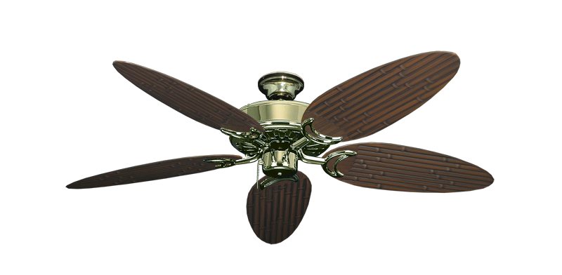 """Picture of Dixie Belle Bright Brass with 52"""" Outdoor Bamboo Oil Rubbed Bronze Blades"""