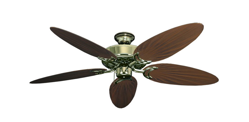 "Picture of Dixie Belle Bright Brass with 52"" Outdoor Palm Oil Rubbed Bronze Blades"