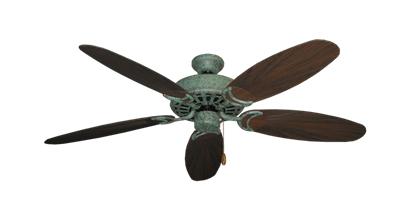 "Picture of Dixie Belle Verde Green with 52"" Outdoor Leaf Oil Rubbed Bronze Blades"