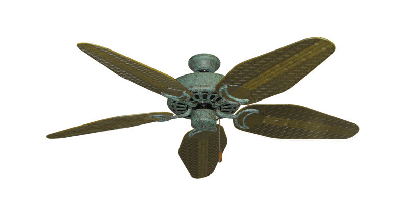 "Picture of Dixie Belle Verde Green with 52"" Outdoor Weave Tigers Eye Blades"