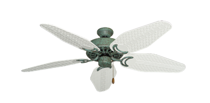 "Picture of Dixie Belle Verde Green with 52"" Outdoor Weave Pure White Blades"