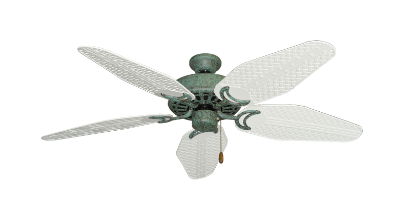"""Dixie Belle Verde Green with 52"""" Outdoor Weave Pure White Blades"""