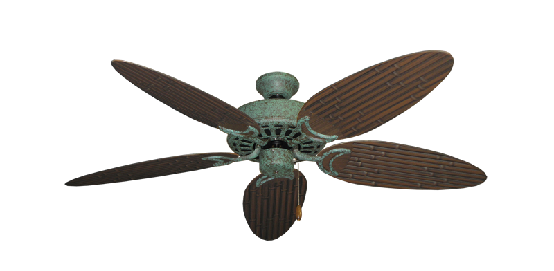 """Picture of Dixie Belle Verde Green with 52"""" Outdoor Bamboo Oil Rubbed Bronze Blades"""