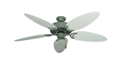 """Dixie Belle Verde Green with 52"""" Outdoor Bamboo Pure White Blades"""