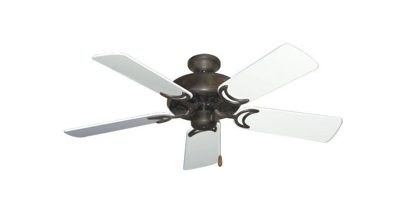 "Picture of Dixie Belle Oil Rubbed Bronze with 44"" Pure White Gloss Blades"