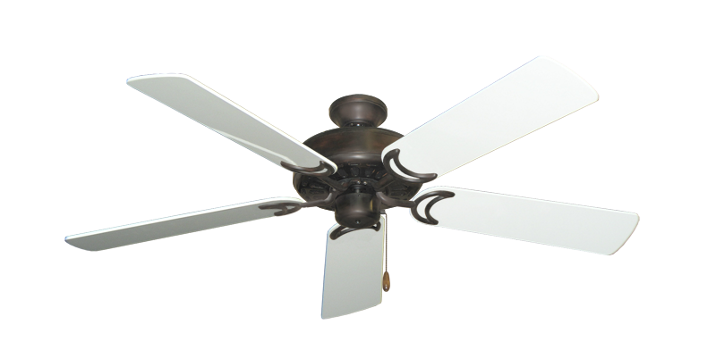 "Picture of Dixie Belle Oil Rubbed Bronze with 52"" Pure White Gloss Blades"
