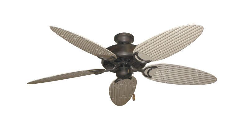 """Picture of Dixie Belle Oil Rubbed Bronze with 52"""" Outdoor Bamboo Distressed White Blades"""