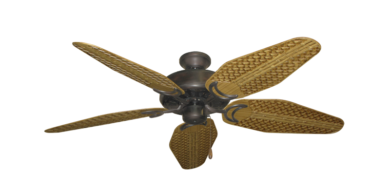 """Picture of Dixie Belle Oil Rubbed Bronze with 52"""" Outdoor Weave Walnut Blades"""
