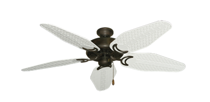 "Picture of Dixie Belle Oil Rubbed Bronze with 52"" Outdoor Weave Pure White Blades"