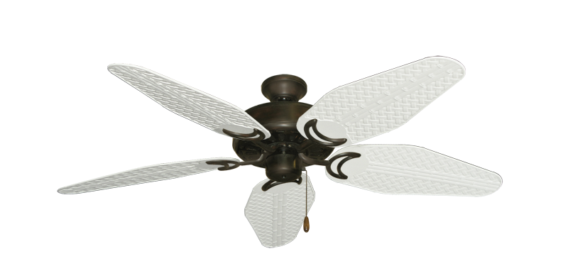 """Picture of Dixie Belle Oil Rubbed Bronze with 52"""" Outdoor Weave Pure White Blades"""