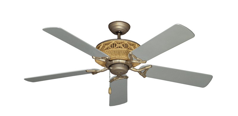 "Tiki Antique Bronze with 52"" Outdoor Brushed Nickel Blades"