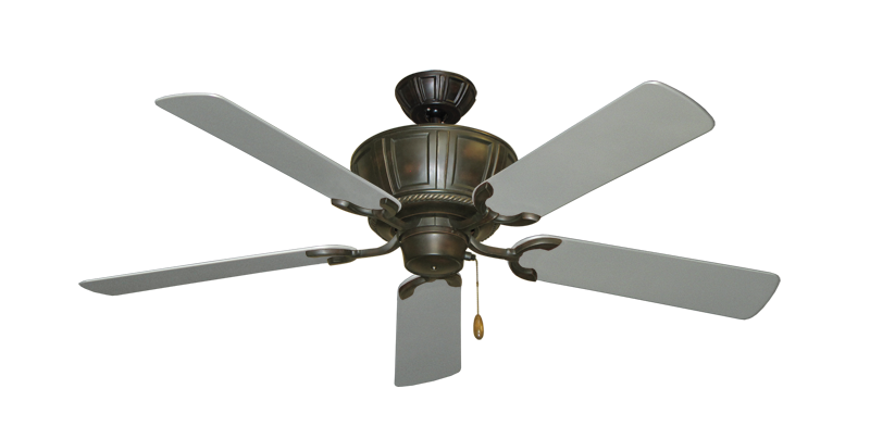 """Picture of Centurion Oil Rubbed Bronze with 52"""" Outdoor Brushed Nickel Blades"""