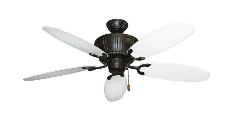 """Centurion Oil Rubbed Bronze with 52"""" Outdoor Wicker Pure White Blades"""