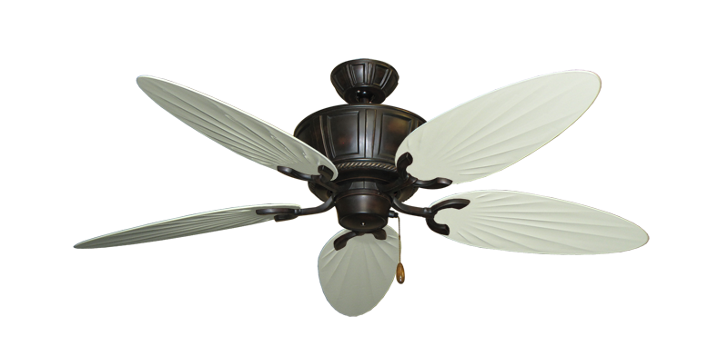 "Centurion Oil Rubbed Bronze with 52"" Outdoor Palm Antique White Blades"