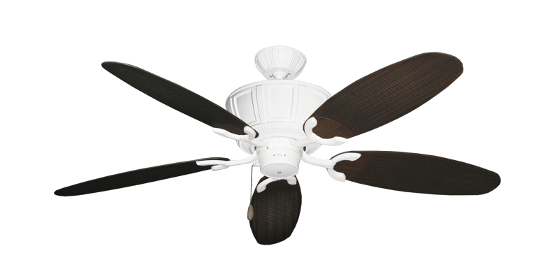 """Centurion Pure White with 52"""" Outdoor Wicker Oil Rubbed Bronze Blades"""