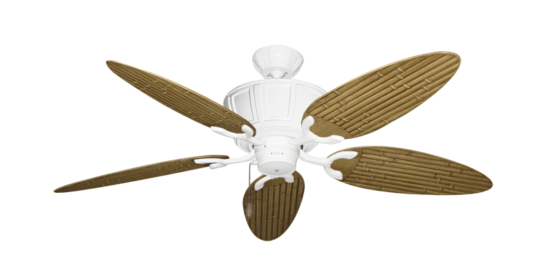 """Centurion Pure White with 52"""" Outdoor Bamboo Walnut Blades"""