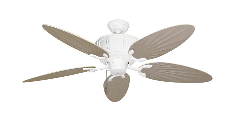 "Centurion Pure White with 52"" Outdoor Palm Distressed White Blades"