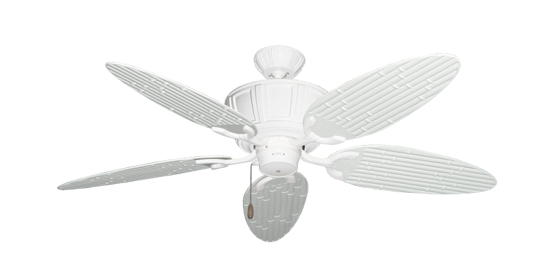 "Centurion Pure White with 52"" Outdoor Bamboo Pure White Blades"