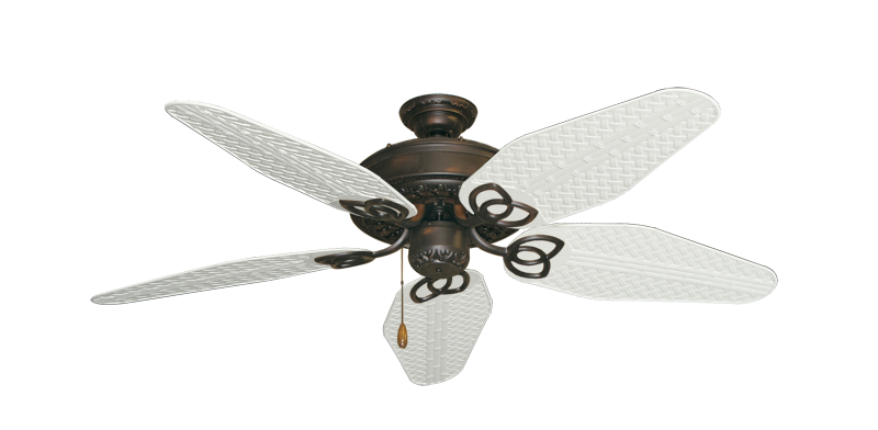 "Picture of Renaissance Oil Rubbed Bronze with 52"" Outdoor Weave Pure White Blades"