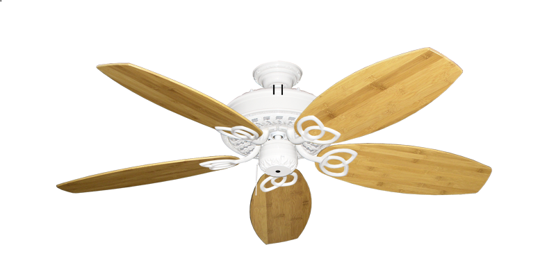 """Picture of Renaissance Pure White with 52"""" Oar Bamboo Brown Blades"""