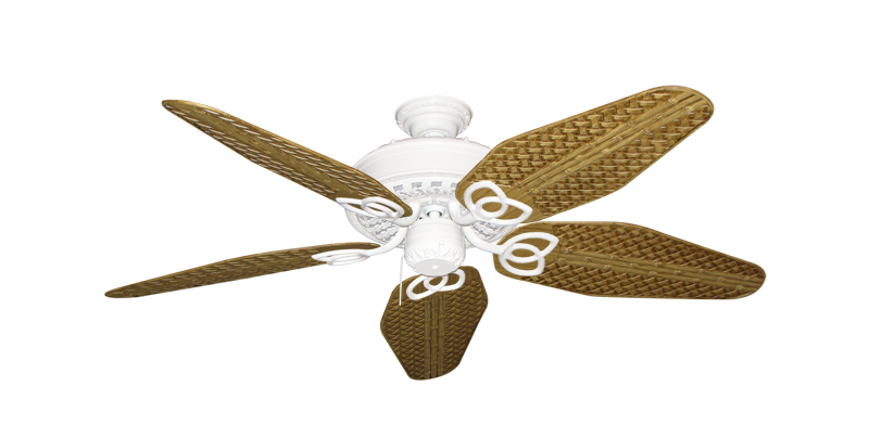 """Picture of Renaissance Pure White with 52"""" Outdoor Weave Walnut Blades"""