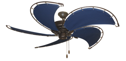 """Raindance Oil Rubbed Bronze with 52"""" Nautical Fabric Blue Blades (add $99.99)"""