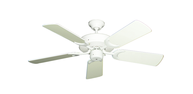 """Picture of Patio Fan Pure White with 44"""" Antique White Gloss Blades"""