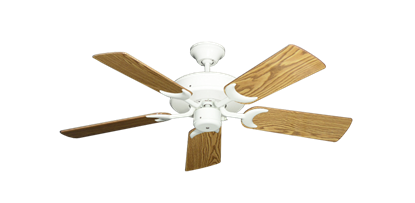 """Picture of Patio Fan Pure White with 44"""" Oak Gloss Blades"""
